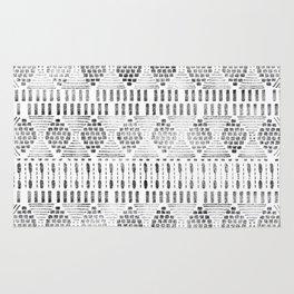 Aztec I Pattern Black and White Rug