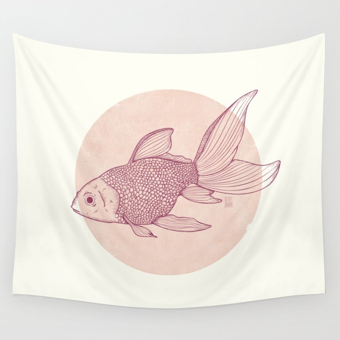 Lonely Goldfish Wall Tapestry
