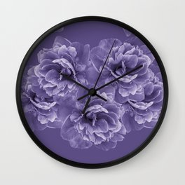Ultra Violet Peony Flower Bouquet #1 #floral #decor #art #society6 Wall Clock