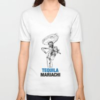 tequila V-neck T-shirts featuring Mariachi Tequila by Kabuloglu
