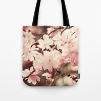 cherry blossom Tote Bags featuring Cherry Blossom by Erin Johnson