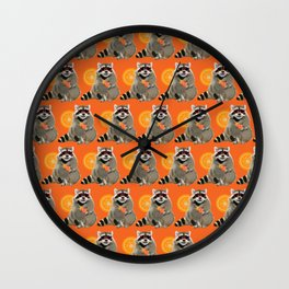 Cool raccoon pattern Wall Clock