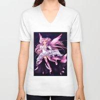madoka V-neck T-shirts featuring Puella Magi Madoka Magica- Ultimate Madoka by StephanieIllustrations