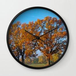 Oaks in the misty Autumn morning (Golden Polish Autumn) #2 Wall Clock