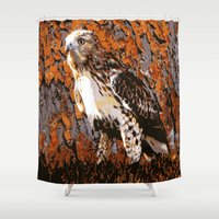 hawk Shower Curtains featuring Cooper's Hawk by Judy Palkimas