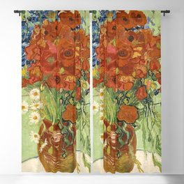 "Vincent van Gogh ""Still Life, Vase with Daisies, and Poppies"" Blackout Curtain"