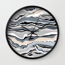 Black and white scandinavian minimal line pattern Wall Clock