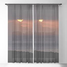 Tenerife Island At Sunrise. Sheer Curtain