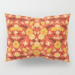 Vibrant Orange, Yellow & Brown Floral Pattern w/ Retro Colors Pillow Sham