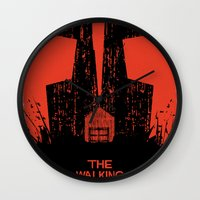 the walking dead Wall Clocks featuring The Walking Dead. by David