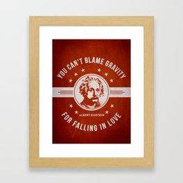 Albert Einstein - Red Framed Art Print