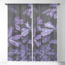 Stillness, Botanical Plants Leaves Sheer Curtain