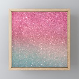 Modern neon pink teal faux glitter ombre patern Framed Mini Art Print