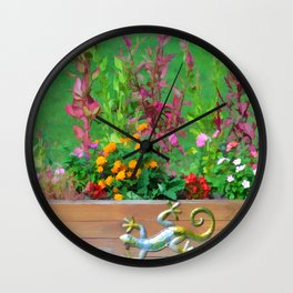 Flowers in a wooden flower bed Wall Clock