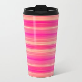 Coral and Pink Brush Stroke Painted Stripes Travel Mug