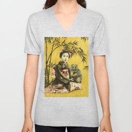 Vintage Geisha And Demon Unisex V-Neck