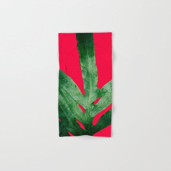 Green Fern on Bright Red Hand & Bath Towel