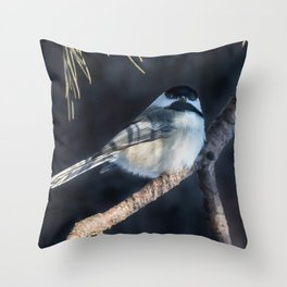 December Chickadee Throw Pillow