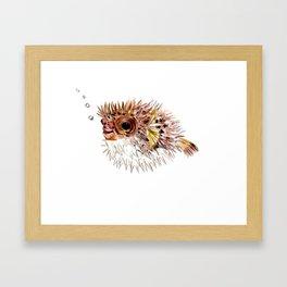 Little cute Fish, Puffer fish, cut fish art, coral aquarium fish Framed Art Print