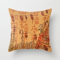 china Throw Pillows featuring China  by Nogah