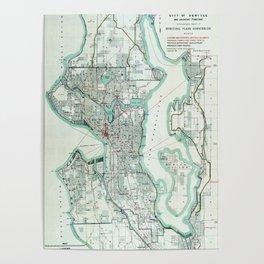 Vintage Topographical Map Seattle Washington Poster