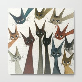 Damascus Whimsical Cats Metal Print