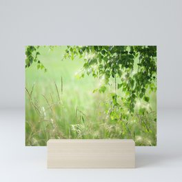Birch leaves with Green Grass Mini Art Print