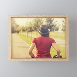 Girl and bike Framed Mini Art Print