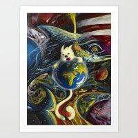 Dog In Space Art Print