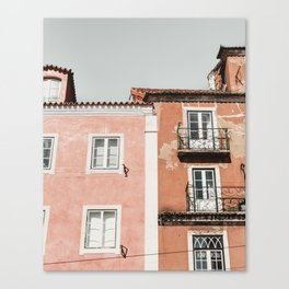 Colored houses Lisbon Portugal   / Travel photography art print - pink orange lisboa Canvas Print