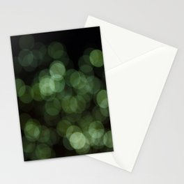 Bokeh Blurred Lights Shimmer Shiny Dots Spots Circles Out Of Focus Green Stationery Cards
