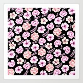 Watercolor coral pink black tropical floral Art Print