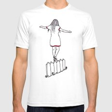 On The Fence SMALL White Mens Fitted Tee