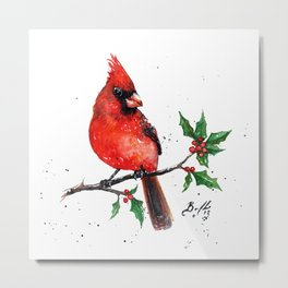 Cardinal + Holly Metal Print