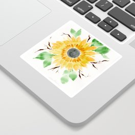 Fall Watercolor Large Sunflower Sticker
