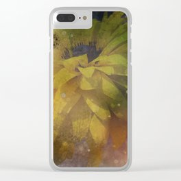 Weathered Yellow Flower Clear iPhone Case