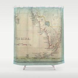 Antique Florida Keys Map Shower Curtain