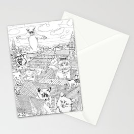 Giant cats and dogs take over the city Stationery Cards