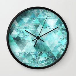 Triangles in aqua - Modern turquoise green blue triangle pattern Wall Clock