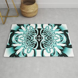 Mint Green Contemporary Scrollwork Wrought Iron Rug