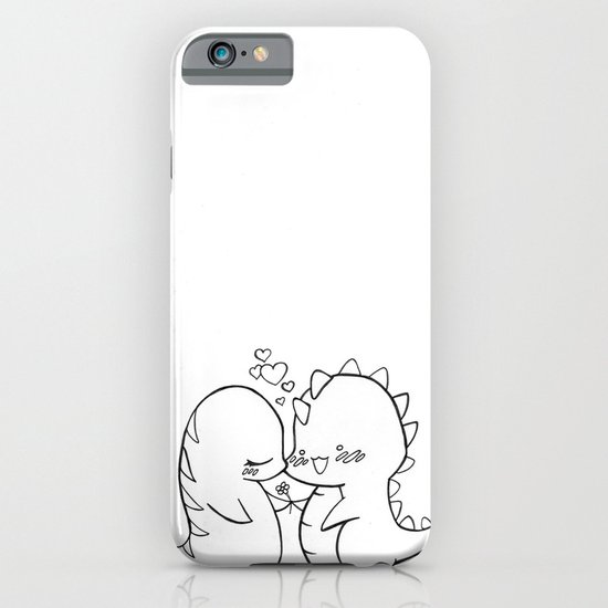 Dino Love Black and White iPhone & iPod Case
