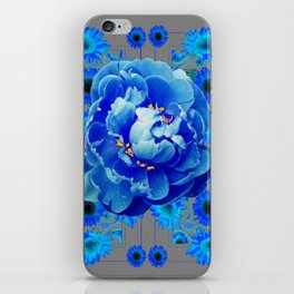 Baby Blue & Charcoal Grey Floral  Abstract Art iPhone Skin