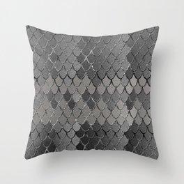 Mermaid Scales Silver Gray Glam #1 #shiny #decor #art #society6 Throw Pillow