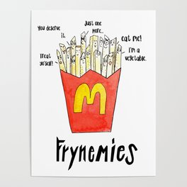 Frynemies, Frenemy, French Fries, Food Art, Funny Art, Illustration, Watercolor, Handlettering. Poster