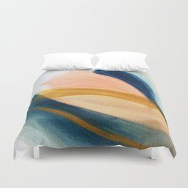 Slow as the Mississippi - Acrylic abstract with pink, blue, and brown Duvet Cover