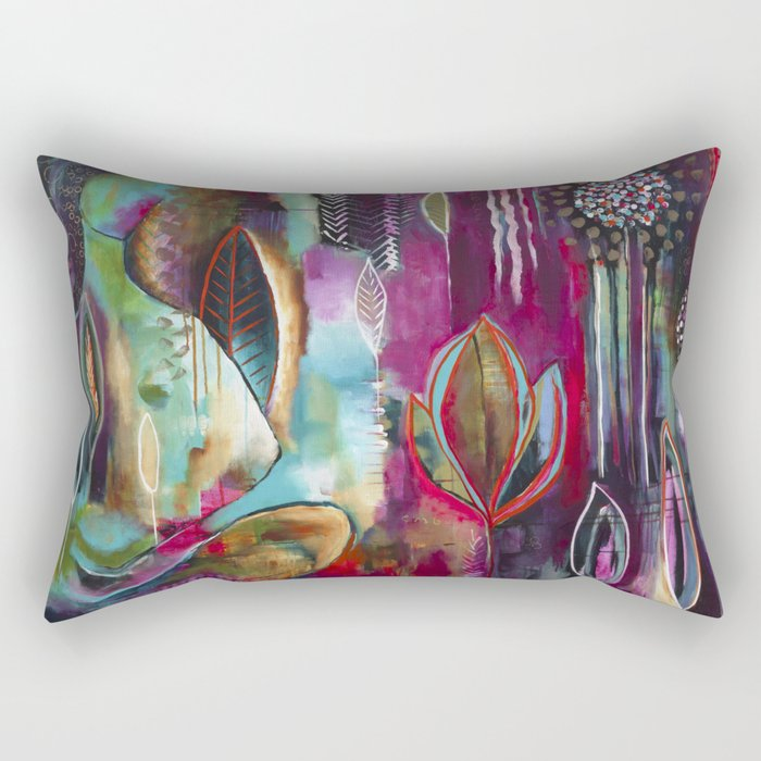 """""""Held and Healed"""" Original Painting by Flora Bowley Rectangular Pillow"""