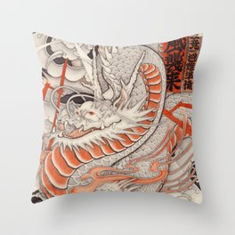 Japanese tattoo Typhoon dragon Throw Pillow