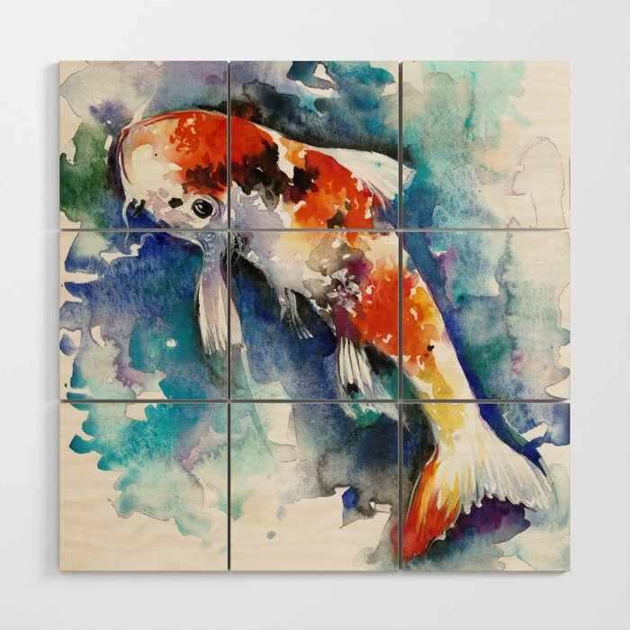 Koi Fish in the Pond - Zen Watercolor Wood Wall Art by soostiberiu ...