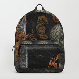 Awesome tribal dragon made of metal Backpack