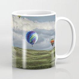 Hot Air Balloons over Green Fields Coffee Mug